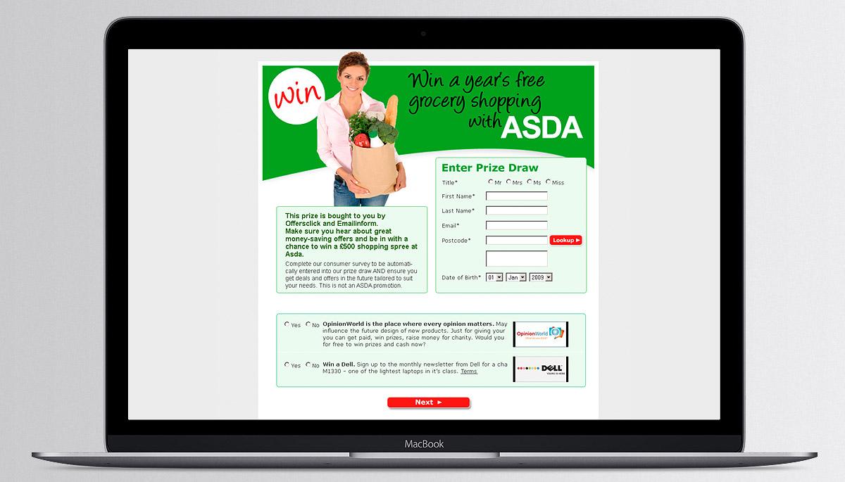 Asda prize draw site