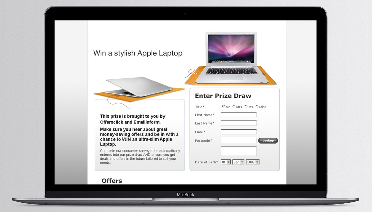 Apple prize draw website