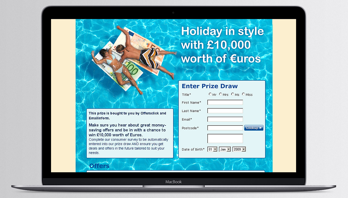 Holiday prize draw website