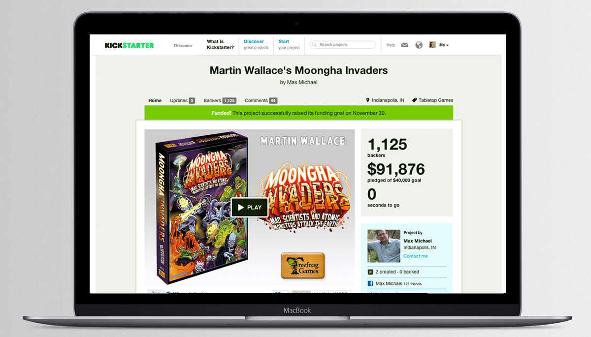 Kickstarter campaign for Moongha Invaders