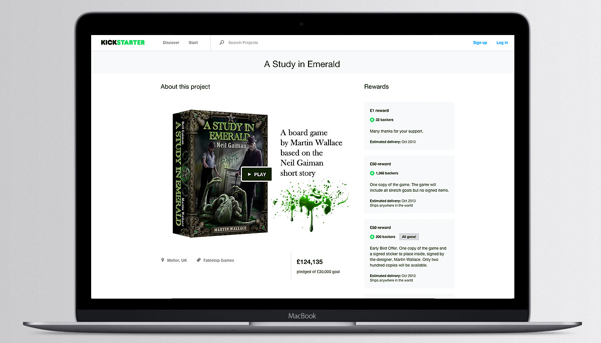 Kickstarter campaign A Study In Emerald